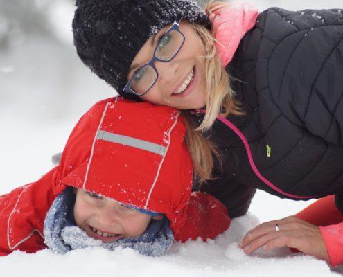zimowa aktywnośc mama dziecko trening odchudzanie